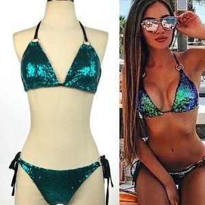 Other - Sexy 💕 Blue Sequin Bikini Swimsuit